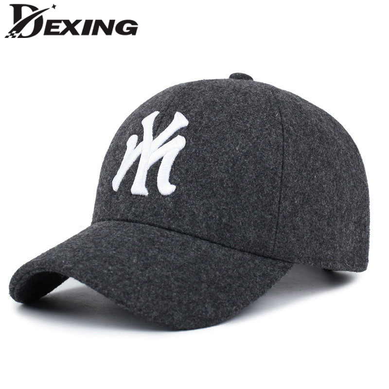2017 fashion autumn winter wool baseball cap snapbkack men women hat embroidery ny outdoor Keep Warm bone adjustable outdoor keep warm earmuff button baseball cap