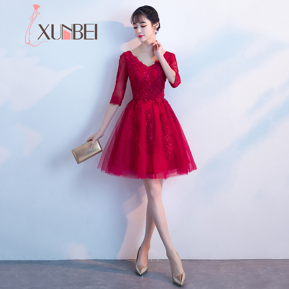 2018 Solid Color Lace Appliques V Neck Short   Prom     Dress   Half Sleeve Sexy See Through Party   Dress   Ball Gowns Vestidos De Festa