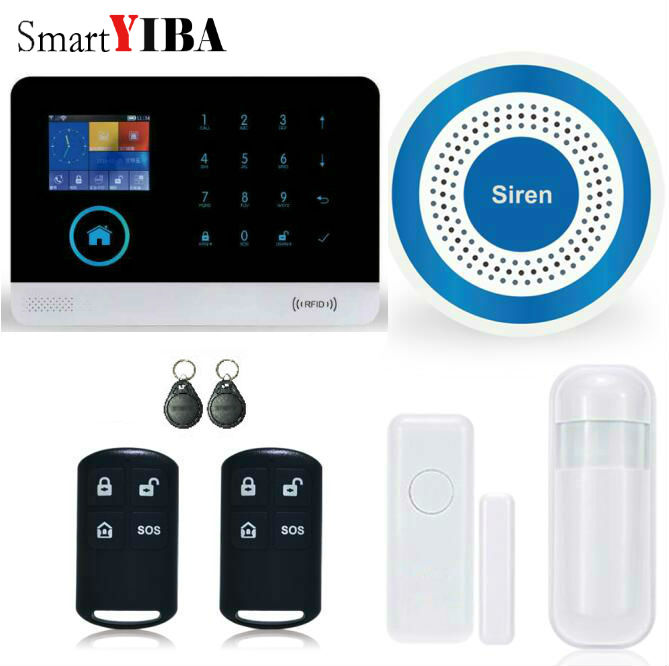 SmartYIBA Wireless Wifi GSM SMS RFID Home Security Burglar Intruder Alarm Wireless Strobe Siren Door Window PIR Motion Sensor safurance lcd wireless gsm home burglar alarm system motion door window sensor home security safety