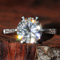 Queen Brilliance Luxury 3 Ct F Color Moissanite Diamond  Engagement Wedding Ring With Real Diamond Accents 14K 585 White Gold