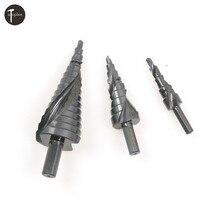 1 шт., 4-12 мм, 4-20 мм, 4-32 мм, треугольная ручка, нитрирование, спирально-Рифленое HSS ступенчатое сверло, набор для сверления металла