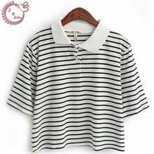 new 2017 small fresh tops preppy style woman t shirt stripe short design turn-down collar tees women T-shirt Women's Clothing