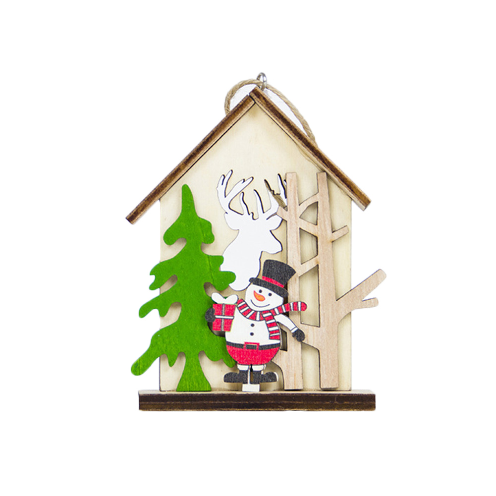 Hot Wooden House Hanging Decoration Ornament Pendant For Christmas Tree Party Home PLD image