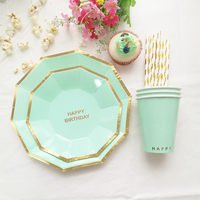 Mint Tableware Set Plate Cup Straw Boy Girl Kid 1st Birthday Supply Paper Tableware 16 Plates