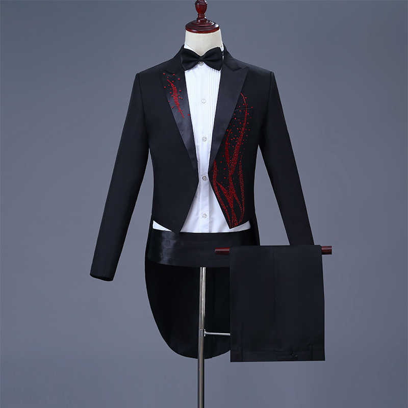 Black White Crystals Male Swallowtail Suits Tailcoat Blazers Costume Prom Party Host Magician Singer Chorus Show Stage Outfit