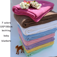 Baby Bed Blanket Newborn Summer Breathable Cotton Sleeping Blanket Kids Car Crib Knitted Crochet Hole Wrap