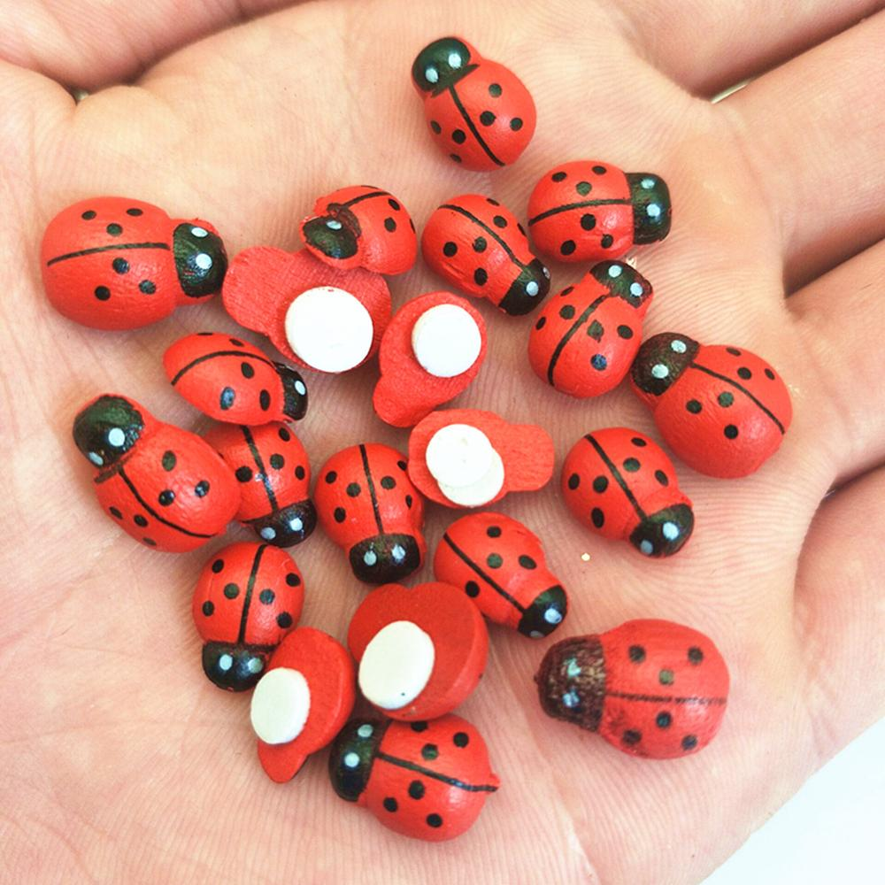 Wooden Ladybird Ladybug Sticker Children Kids Painted Adhesive Back DIY Craft Home Party Holiday Decoration 5BB5737