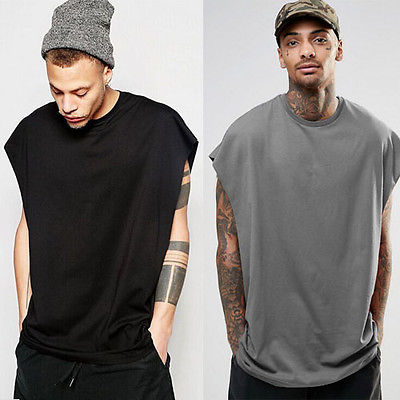 65969d9e5 2017 Men Loose Fit Tee Top Sleeveless Shirt Singlet Workout Fashion Blank  Plain T Shirts-in T-Shirts from Men s Clothing on Aliexpress.com