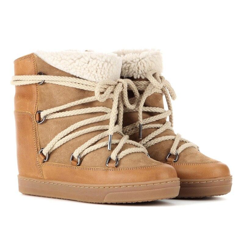 Bota feminina plush lace up ข้อเท้ารองเท้าสำหรับผู้หญิง punk รองเท้าความสูงเพิ่มรองเท้า balck brown คาวบอยรองเท้าผู้หญิง 2020-ใน รองเท้าบูทหุ้มข้อ จาก รองเท้า บน   1