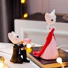 Cute resin Love cat couple creative miniature Figurine Craft teraryum fairy garden miniatures home decor romantic wedding gifts