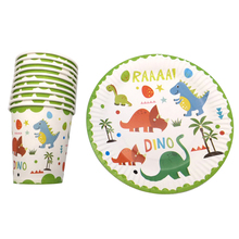 60pcs/lot=30pcs plates+30pcs cups Tableware Set Happy Birthday Events Party Dinosaur Theme Boys Favors Dishes Baby Shower Glass