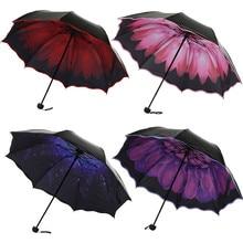 Travel Parasol Folding Rain Windproof Umbrella Anti-UV Sun/Rain Lace black plastic umbrella