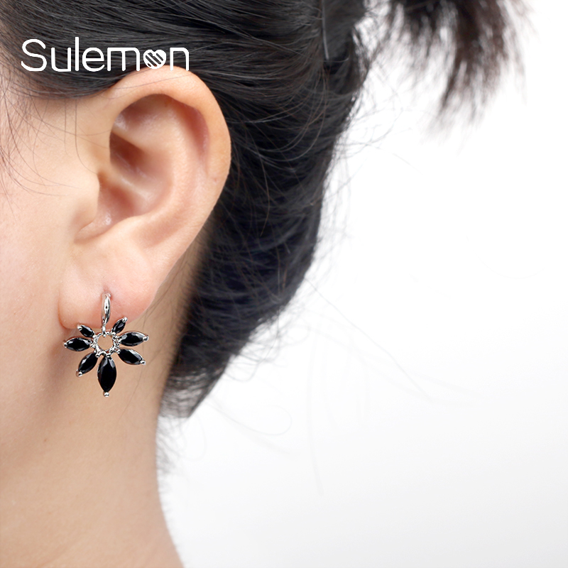 Fashion Flowers Zircon Black Earring Trendy High Quality Simple Cubic Zircon Drop Earrings For Girl Birthday