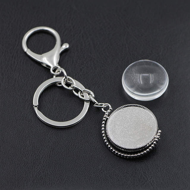 US $4 61 30% OFF|Personalized Photo Key Chain Double Sided Rotatable Silver  Plated Keyring Photo Of Your Loved Family Member Gift-in Key Chains from