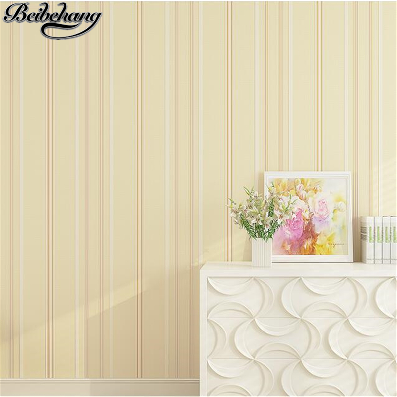 beibehang Vertical striped non-woven wallpaper simple modern bedroom wallpaper embossed plain living room wallpaper TV wall beibehang blue wallpaper non woven