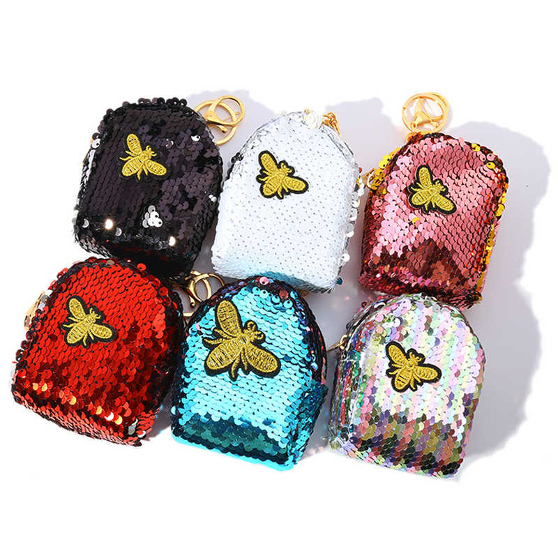 Junlead cute Sparkly sequines women embroidery bee pocket change Square  wallet for girls Key Chains kawaii 71dc4547f3b4