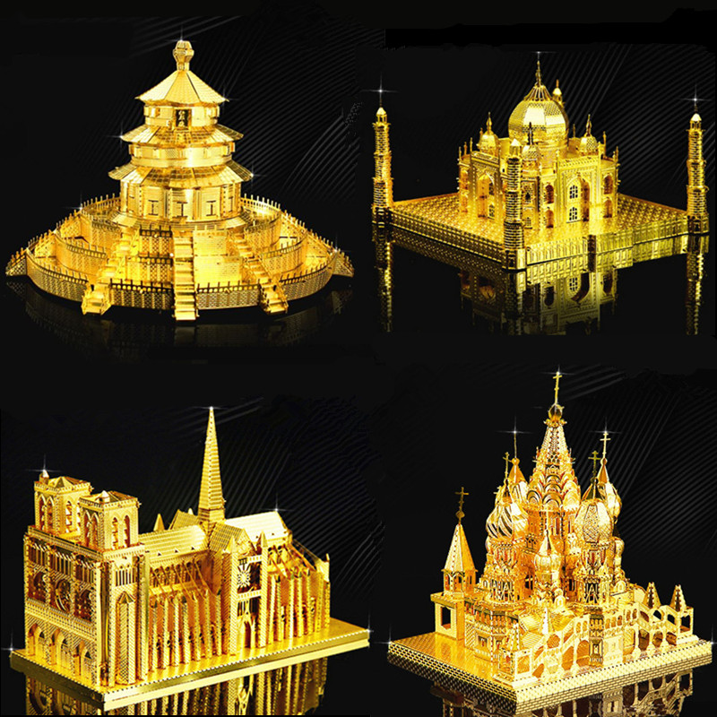 3D Metal Puzzle DIY Assembly Various Building Toyss