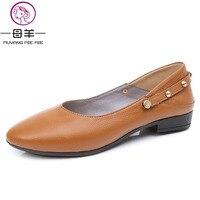 MUYANG women flats shoes women genuine leather casual flat shoes ladies ballet flats Ladies shoes women loafers plus size 35 43