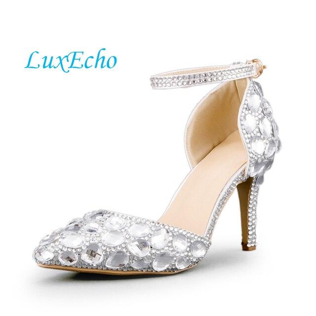 964e977d94c9 Silver stones Wemen Wedding shoes pointed toe thin heels Dress shoes woman  fashion shoes sandals big size 34-42 ankle strap