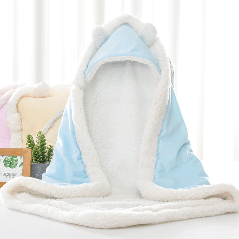 Super Soft Newborn Baby Fleece Blanket Warm Lamb Sleepsack for Baby Pure Color Cotton Envelop Baby Winter Sleeping Sack Bag