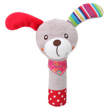 Baby Rattle Mobiles Cute Baby Toys Different Cartoon Animal BB Stick Hand Bell Rattle Soft Toddler Plush Toys for 0-12 Months