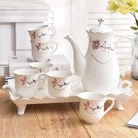 Европейском стиле высокого класса стакана воды комплект костюм домашний кофе множество термостойкие гостиная чашки чайник чашка комплект