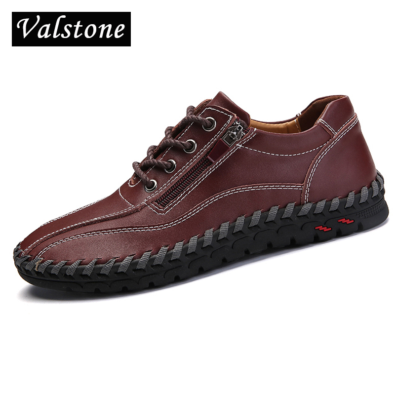 Valstone Luxury Genuine Leather Shoes Men lace up boat shoes handtailor leisure shoes zipper opening Claret