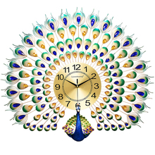 Luxury Peacock Wall Clock Modern Design Silent Living Room Mirror Watch Reloj Creative Home Decoration 50KO535