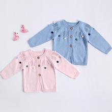 Noworodka sweter dziewczynka słodkie sweter sukienka dla dziewczynek ubrania jesień z dzianiny dla niemowląt odzież wierzchnia bawełna niemowląt bawełna kurtka dla dzieci tanie tanio Kurtki płaszcze COTTON Mikrofibra Moda Czesankowej Unisex Pełna Geometryczne O-neck REGULAR 83010 Pasuje prawda na wymiar weź swój normalny rozmiar