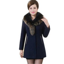 2016 New Winter MiddleAged Women Wool Coat Temperament Fur Collar Slim Big Yards Woolen Jacket Wool Coat Outerwear XL-5XL A1892