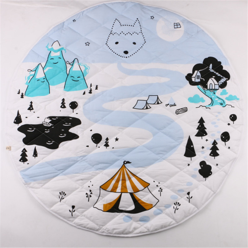 Soft 100% Cotton Kids Baby Infant Crawling Play Mat Round Cushion Rug Teepee Canopy Mat