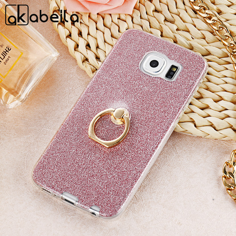 AKABEILA Case For Samsung Galaxy S6 SVI G920F Case Phone Cover For G9208 G9208/SS G9209 G9200 G9208 Silicone Glitter ring buckle