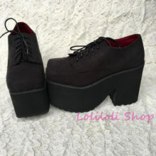 Princess sweet gothic lolita shoes Loliloliyoyo antaina Japanese design custom black suede cross lacing thick heel shoes 4144s