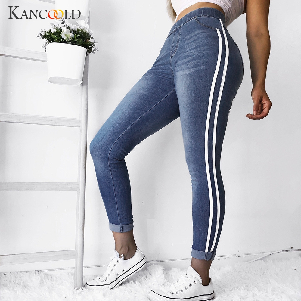 KANCOOLD Jeans Women Autumn Elastic Plus Tight Feet Jeans Spliced Loose Denim Ribbon Casual Fashion Jeans Woman 2018Oct24