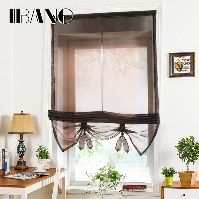HOT SALE Roman Curtains Liftable Kitchen Coffee Balcony Window Tulle  Curtains Cortinas With Plastic Tube