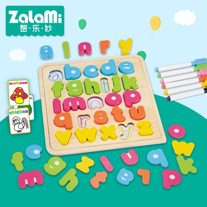 KIDUS 26 Μικρές επιστολές Κεφάλαιο Πολυλειτουργικό Εκπαιδευτικό Ξύλινο Παιχνίδι παζλ Παιδιά Παιδικά Παιχνίδια Jigsaw Παιδικό Σχέδιο