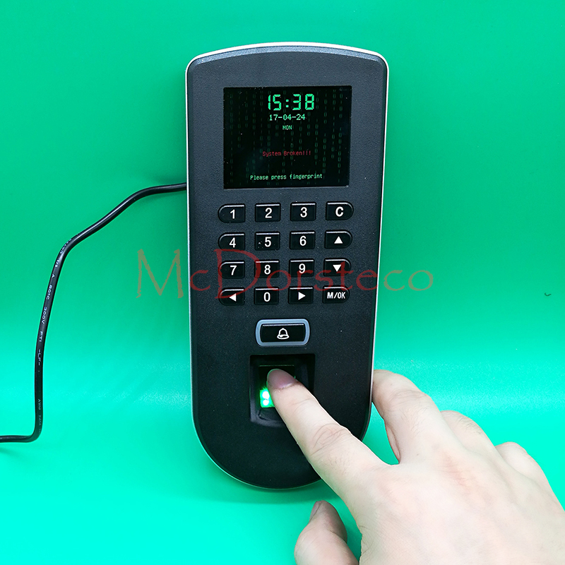 Optional Spanish, Arabic Biometric fingerprint Door Access Control TCP/IP wiegand F19 fingerprint Door Security Controller f807 biometric fingerprint access control fingerprint reader password tcp ip software door access control terminal with 12 month