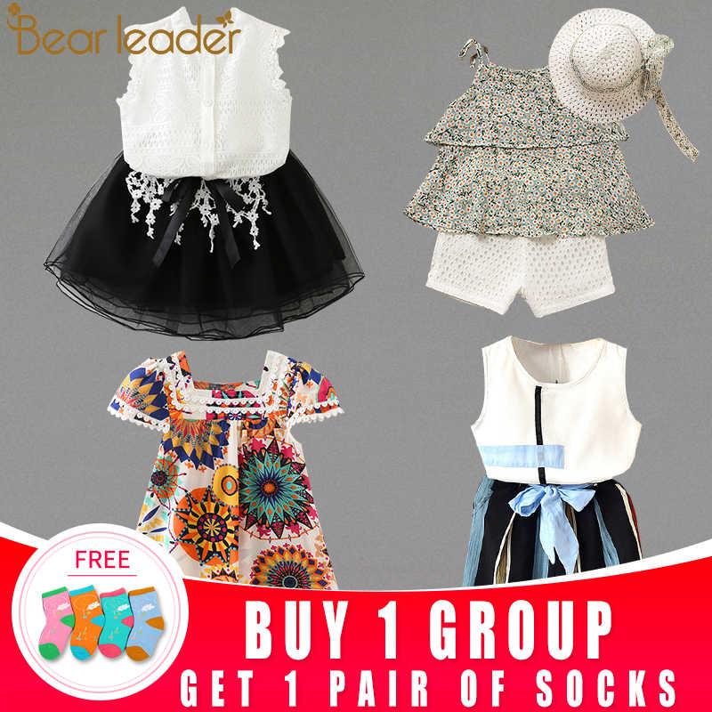 דוב מנהיג תינוק בנות בגדים סטי 2019 אופנה תינוק בגדי ילדים של ג 'ינס חולצה + Leopard חצאית + ראש פרח 3Pcs עבור להלביש