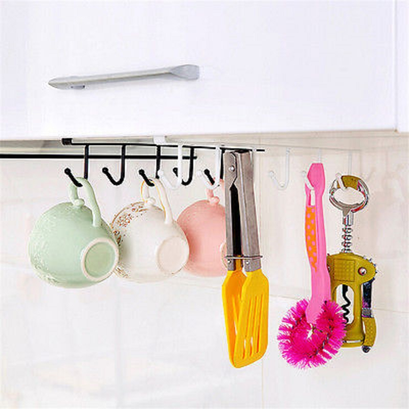 6 Hooks Cup Holder Hang Kitchen Cabinet Under Shelf: Kitchen Cabinet Under Shelf 6 Hooks Cup Mug Holder Kitchen