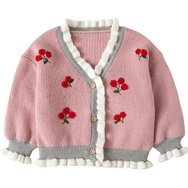1-3 Years Old Baby Girl Sweater Child Winter Warm Draped Cardigan Jacket V-neck Pink Cardigan For Girls Cute Girl Sweet Sweater