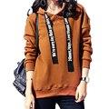 2016 mujeres de La Moda Otoño invierno hoodies ocasionales sólidas señoras gruesas de terciopelo sudadera mujer de manga larga de Corea pullover escudo 248