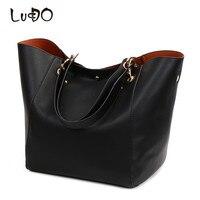 LUCDO Luxury Designer Large Leather Tote Handbag High Quality Large Capacity Shoulder Bag Vintage Women Bag Set Sac A Main Bolsa