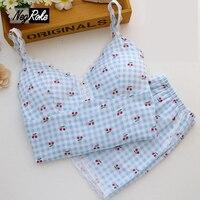 Angel Summer Cute Cotton Camisole Sets Sleepwear Women Spaghetti Strap Lace Pijamas Mujer Sexy Pajama Sets