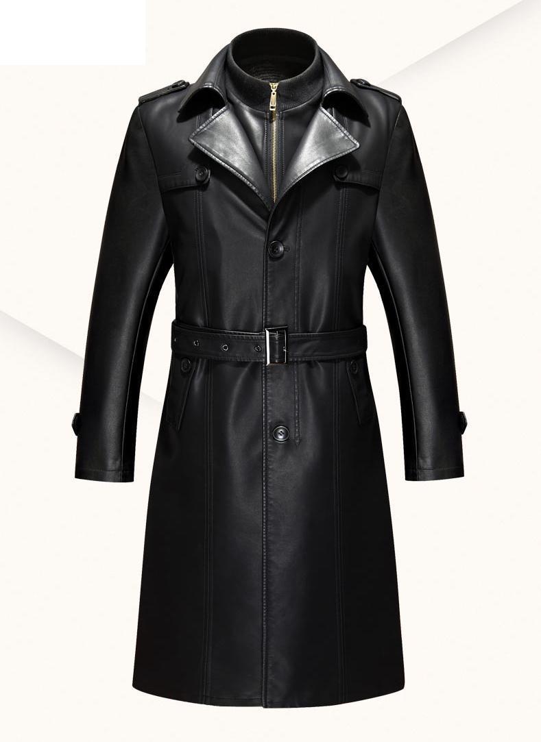 Черная кожаная куртка Для мужчин парка Повседневное PU Костюмы Для мужчин с длинным Кожаные куртки пальто Высокое качество плюс бархат Иску...