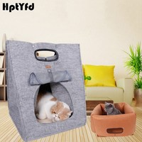 Creative Pet Cat House Basket Small Dog Puppy Kennel Bed for Cat Mat Sleeping Bags Nest Cat Handbag Portable Breathable Dog Beds