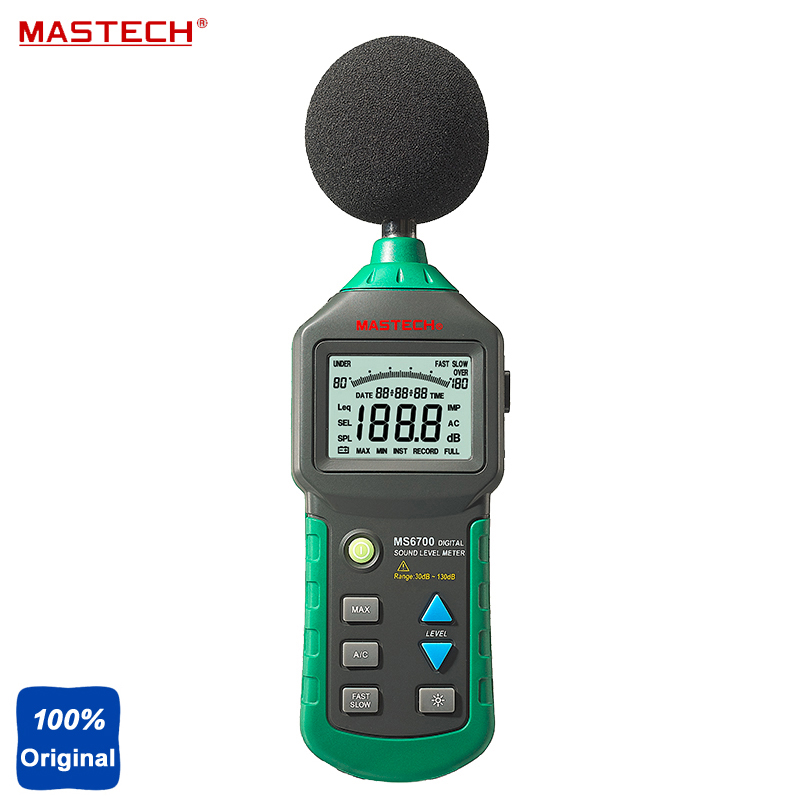 MASTECH MS6700 Autoranging Digital Sound Level Meter Noise Tester 30dB to 130dB gm1357 with carry box 30 130db digital sound level meter noise tester in decibels lcd a c fast slow db screen