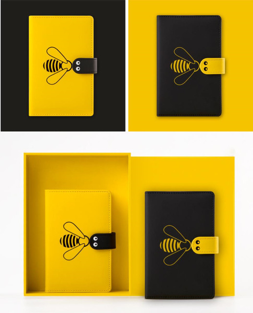"""""""Little Bee"""" Faux Leather Journal Notebook Monthly Daily Planner Any Year Agenda Scheduler Study Diary Stationery Gift"""