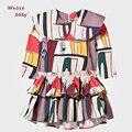 Nuevo Diseño de La Muchacha Otoño Invierno Vestido de Partido Del Collar de la Muñeca de Halloween Disfraces Para Niños Princesa Vestidos de Manga Larga Hasta La Rodilla