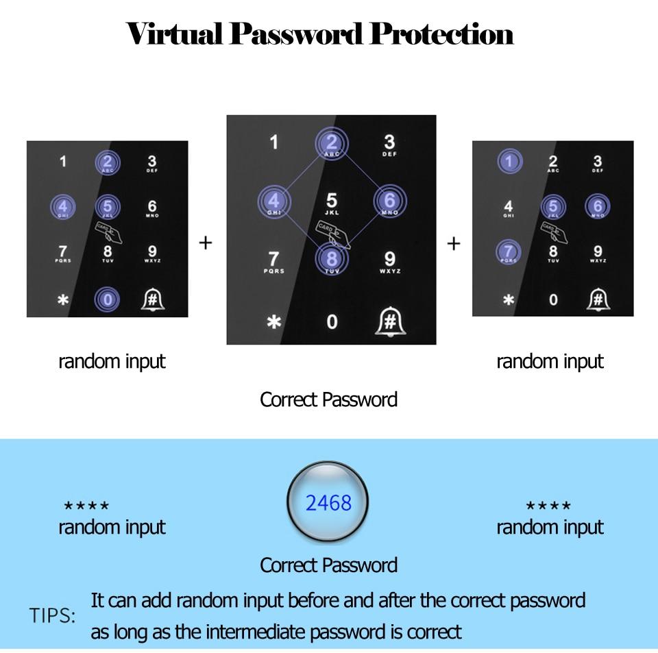 Smart Door Fingerprint Lock Electronic Digital Gate Opener Electric RFID Biometric finger print security Glass Password Card
