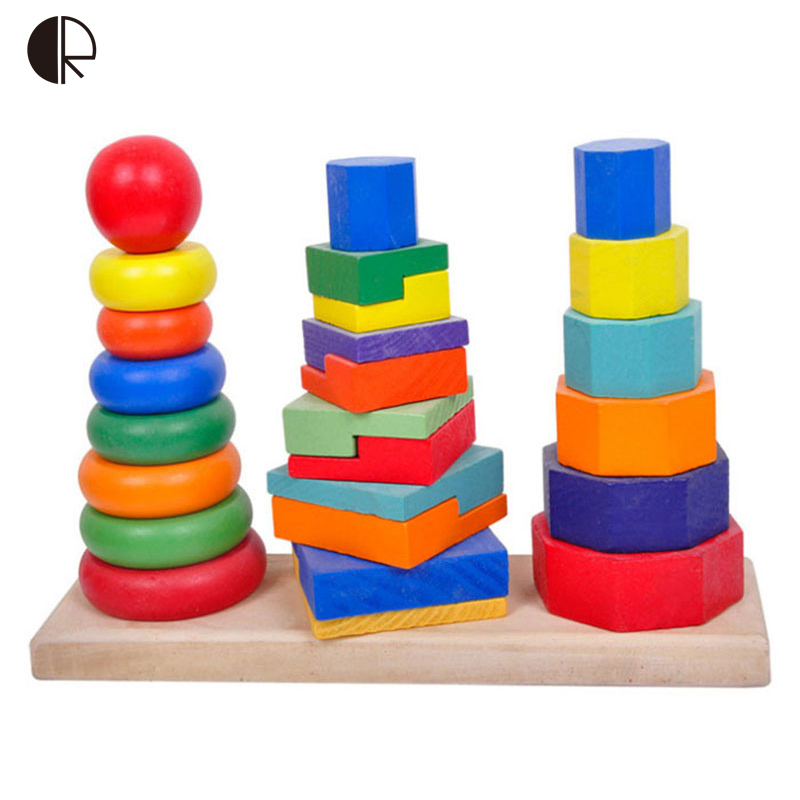 Kids wooden toys 2017 hot sale children 39 s rainbow circle for Cost of building blocks in jamaica 2017